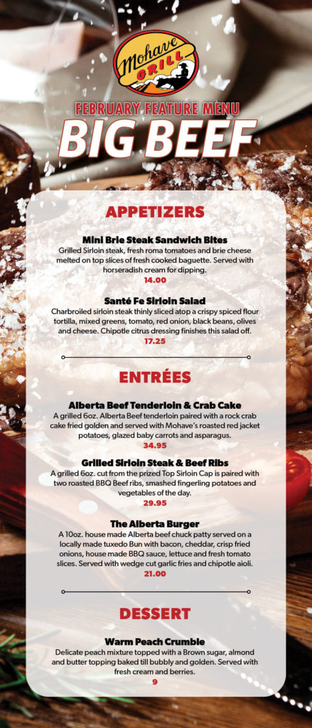 February's Big Beef Menu Feature at Mohave Grill