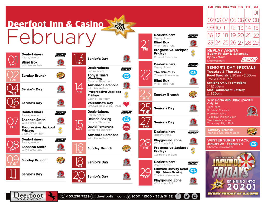 February Calendar of Events at the Deerfoot Inn and Casino