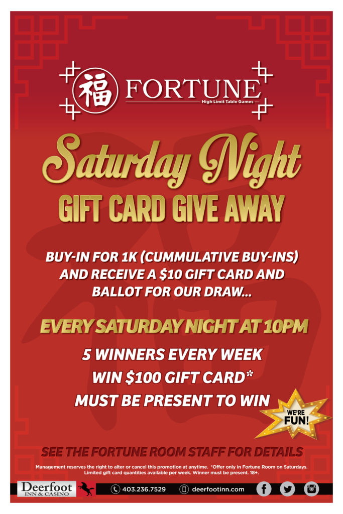 Saturday Night Gift Card Give Away in the Fortune Room