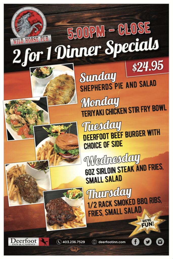 WHP 2 for 1 Dinner Specials